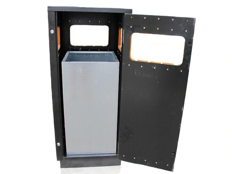 poubelle ext rieure 50 50 120 bois m tal avec porte esipro. Black Bedroom Furniture Sets. Home Design Ideas